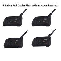 4pcs Lot Vnetphone V4 Full Duplex Bluetooth Helmet Intercom Motorcycle BT Interphone Headset Earphone