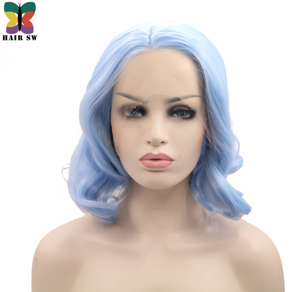HAIR SW Short Wavy Bob Synthetic Lace Front wigs Light Blue 1 5 inch Deep Parting