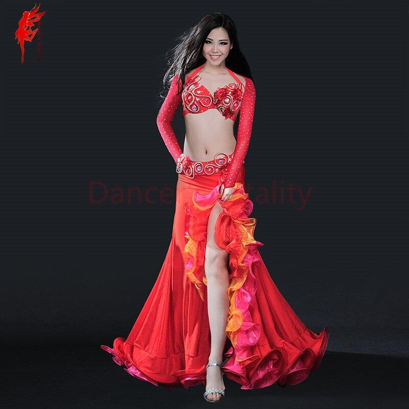 Belly Dance Clothing Women Luxury Belly Dance Suit Bra+shoulder+belt+skirt 4pcs Belly Dance Clothes Suit Performance Suit S M L