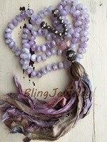 Gasto BoHo Colar Rústico Sari De Seda Borla Knoting Rondelles Beads Colar de Ametistas N17081622