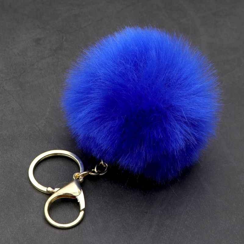 13 cores Bonito falso Pele De Coelho Pompom Chaveiro Mulheres Saco Carros SoftBall Pom Pom Fofo Chaveiro Pingente Anel Porte clef Charme