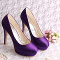 Wedopus High Quality Double Platform Women Pumps Shoes Size 9 Purple Satin Wedding
