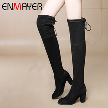 ENMAYER 2019 New  Flock Over-the-Knee Women Winter Boots Basic Round Toe Solid Size 34-43 LY4009