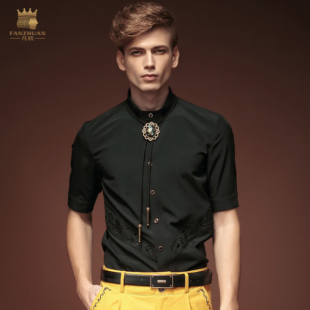 fanzhuan Free Shipping New fashion casual personality male Men's half sleeve blouse color summer slim black shirt 15329 On Sale