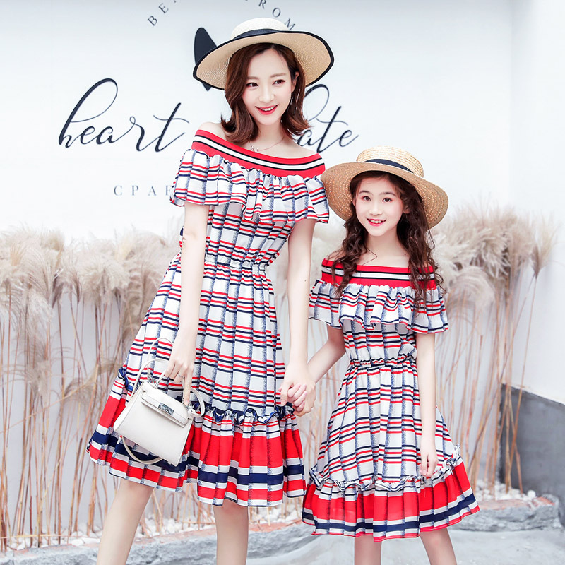 WLG family matching clothes mother and daughter summer red blue striped dresses fashion mommy and me clothesWLG family matching clothes mother and daughter summer red blue striped dresses fashion mommy and me clothes