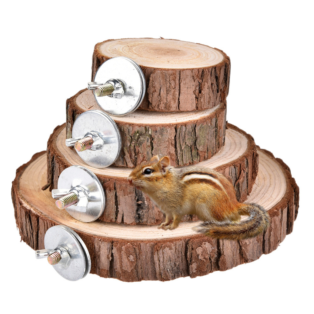 Natural Wooden Logs Board Hamster Wooden Platform For Chinchilla Guinea Pig Squirrel Totoro Parrot Jumping Small Pet Toys Supply