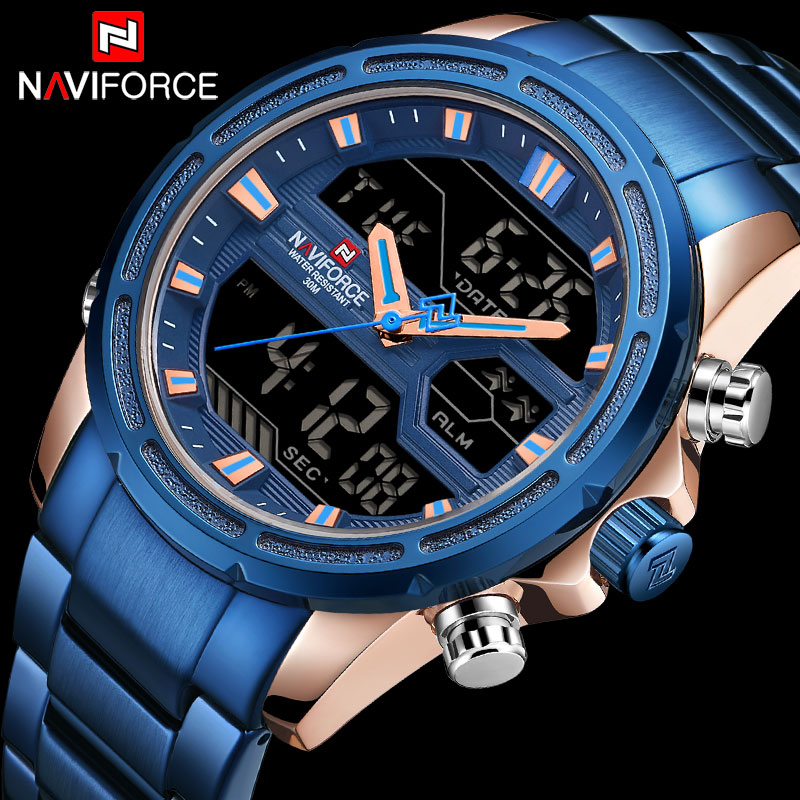 NAVIFORCE Luxury Brand Men Sports Watches Men's Quartz LED Digital Clock Male Full Steel Military Wrist Watch Relogio Masculino naviforce men s military sports watches men led digital watch waterproof full steel quartz watches man clock relogio masculino