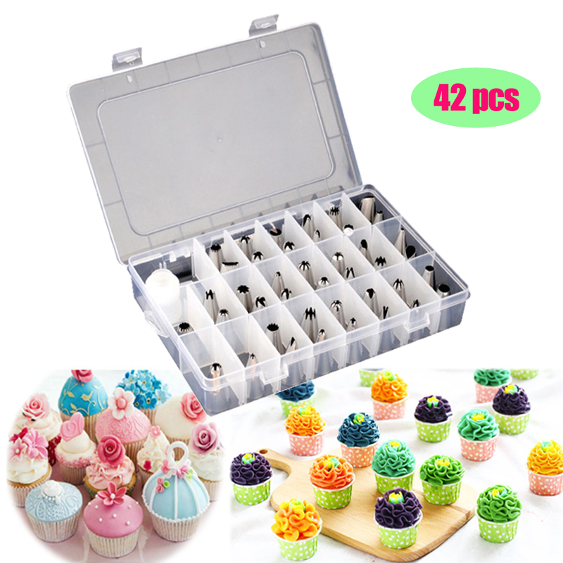 42 Pcs Cake Decorating Tips Set Stainless Steel Icing Piping Nozzles DIY Household Baking Tools Reusable Pastry Bags Couplers D in Decorating Tip Sets from Home Garden