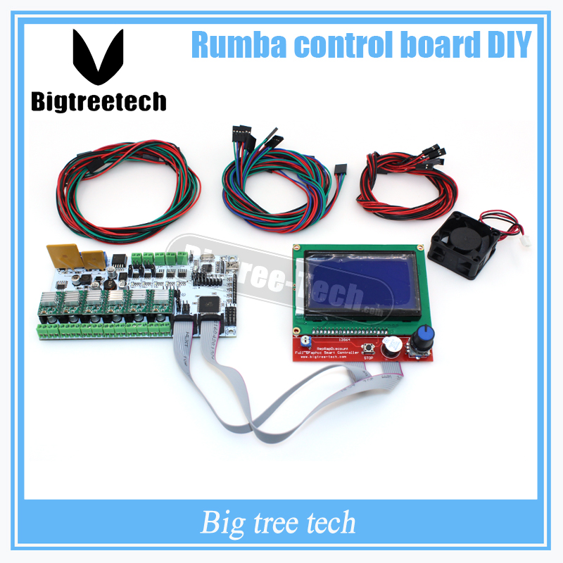 BIQU Rumba 3D printer Rumba control board DIY+LCD 12864 controller display +jumper wire +A4988 for Reprap 3D printer geeetech rumba 3d controller board atmega2560 for mentel reprap prusa 3d printer