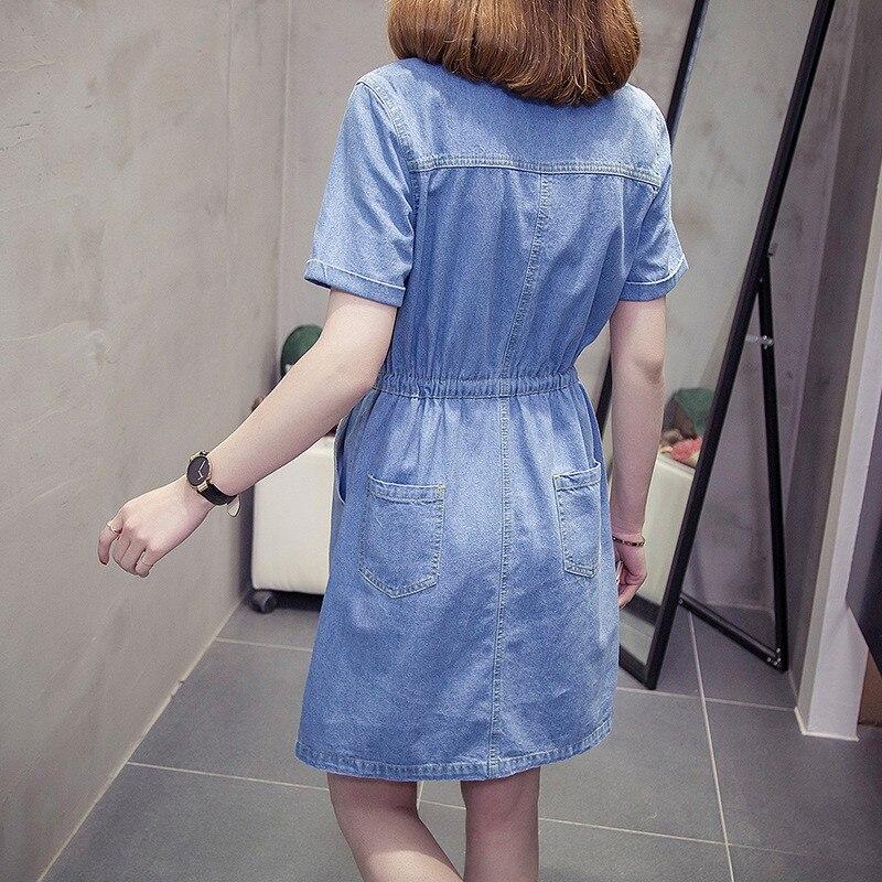 Taille élastique cordon bleu femme Sexy Denim robes à manches courtes revers femmes mode robe 2019 grande taille 5XL vêtements décontractés - 4