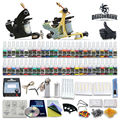 Beginner tattoo starter kits 2 guns machines 54 ink sets power supply needle pedal tips D100GD