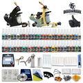 Starter kits del tatuaje del principiante 2 ametralladoras de 54 conjuntos pedal de alimentación de la aguja de tinta consejos D100GD