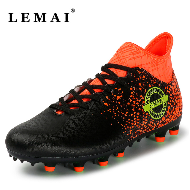 1b839db9a33 New Men Soccer Shoes FG Long Spike Football Boots High Top Outdoor Kids  Training Cleats Sport Boots
