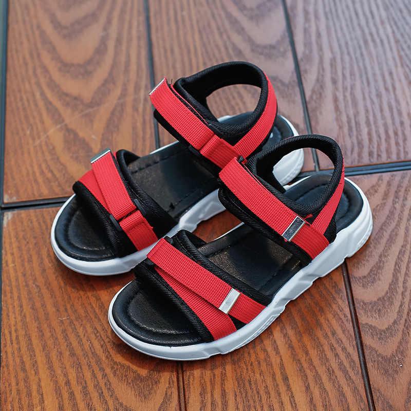 COZULMA/Детские быстросохнущие пляжные сандалии для мальчиков и девочек; летняя резиновая подошва; нескользящая обувь на липучке; Размеры 26-36