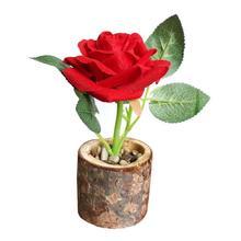 Carton Simulation Rose Flower Pot Diy Artificial Flower Plant Bonsai Wood Vase Pot Indoor Home Office Decoration Craft Gift 3
