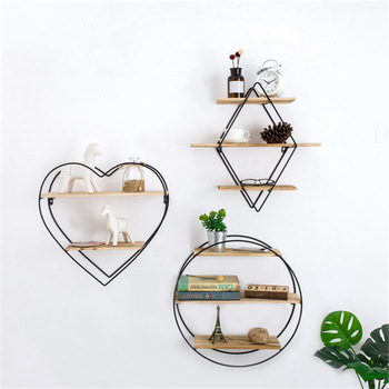 Nordic Simple Heart-Shaped Double Layer Wall Shelf Decorative Shelves Creative Wood Shelves Wall Decorations Crafts Home Decor