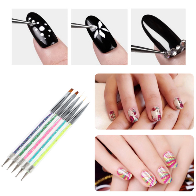 5pcsset Candy Color Double Head Nail Art Dotting Pens Glitter
