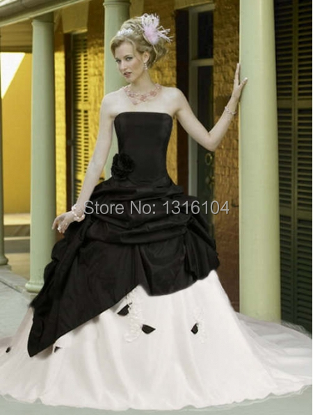 51e18d010c6 Medieval Black White Bridal Gowns With Color Two tones Ball Gown Taffeta  With Train Victorian Quinceanera