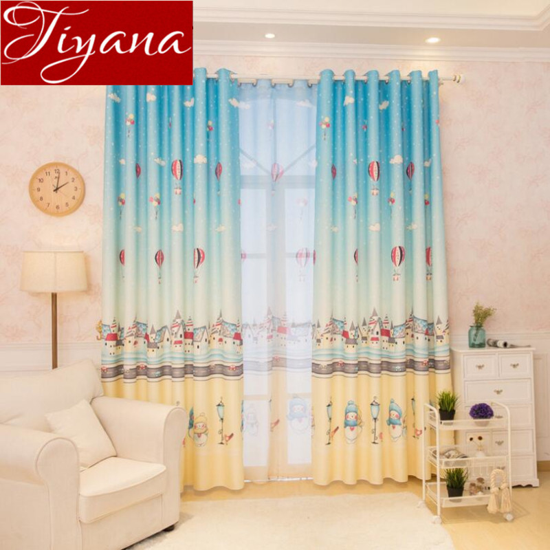 Hot Air Balloon Kids Room Curtains Voile Sheer Cartoon Curtains Window  Modern Living Room Curtains Tulle