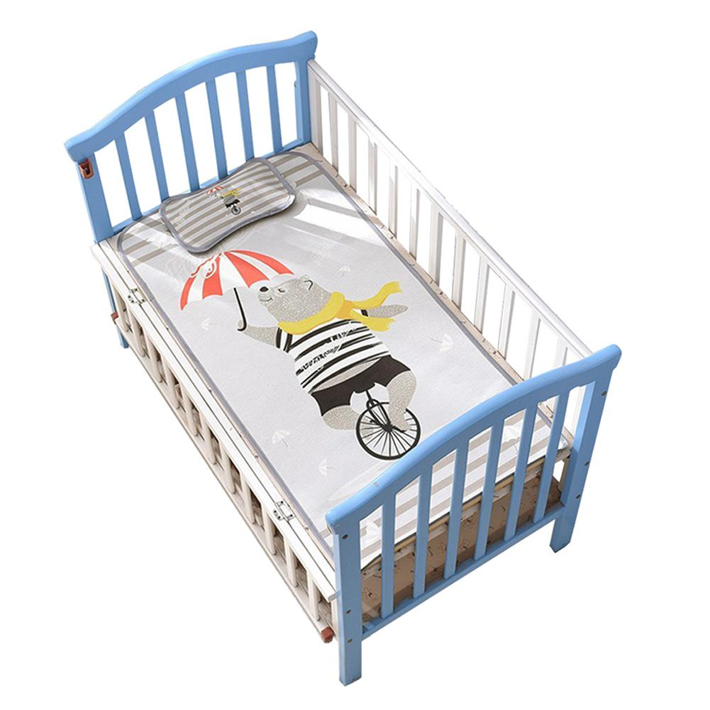 2019 New Breathable Cool Washable Newborn Toddler Bed Summer Sleeping Ice Silk Fiber Infant Crib Mat Mattress With Pillow Case