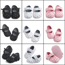 Pudcoco Infant Toddler Boy Girls Baby Kids Casual Canvas Shoes Sneaker Anti-slip Soft Sole Bow Dot First Walkers