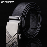 Cow Genuine Leather Men Belts Designers Luxury 2016 Automatic Buckle Black Formal Business Solid Belt For