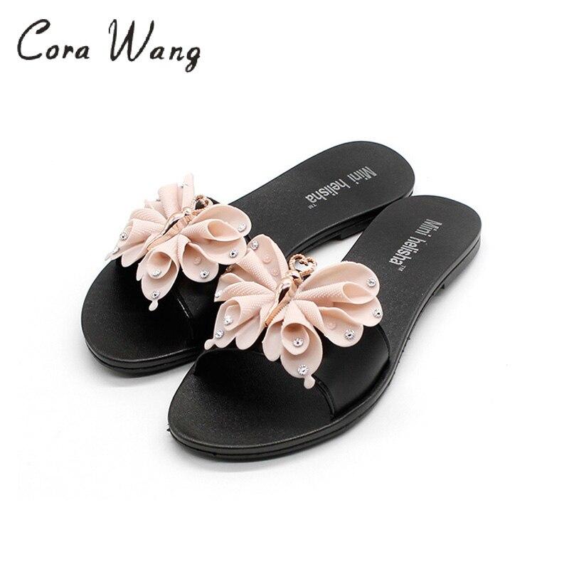 Cora Wang 2018 woman bowtie shoes lady students summer flats sandals women summer beach flip flops woman sweet slippers ASS741 стоимость