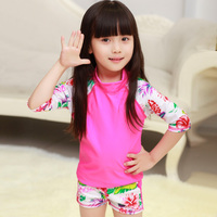 Hot Sale Professional Swimsuit Rose Long Sleeves Two Pieces Child Girls Bathing Suit Excellent Quality Children
