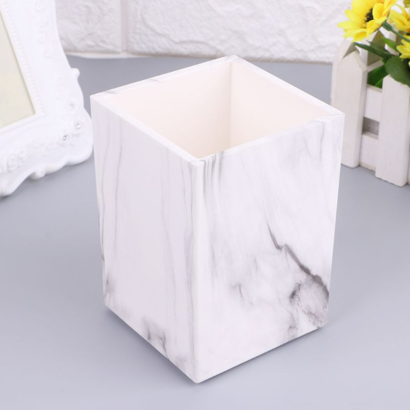 Marble Desk Pen Pencil Holder Case Box Makeup Brush Office Organizer StationeryWholesale Dropshipping