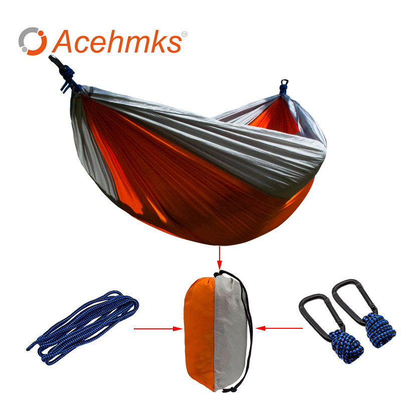Double Person Hammocks Outdoor Furniture Furniture Parachute Fabric Hammock Swing Nylon 270*140 cm Whole sale Outdoor Products outdoor sleeping parachute hammock garden sports home travel camping swing nylon hang bed double person hammocks hot sale
