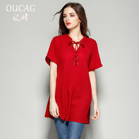 Women Cotton T Shirt 2018 New Arriveal Style Short Sleeve Red Color