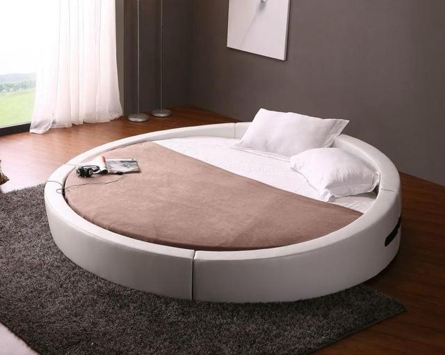Contemporáneo moderno de grano superior de cuero muebles de dormitorio cama redonda Hecha en China