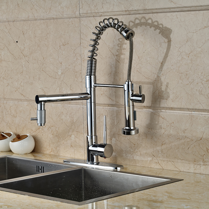 ФОТО Kitchen Swivel Two Spout Faucet One Handle Single Hole Hot and Cold Water Kitchen Mixer Taps Chrome Finished