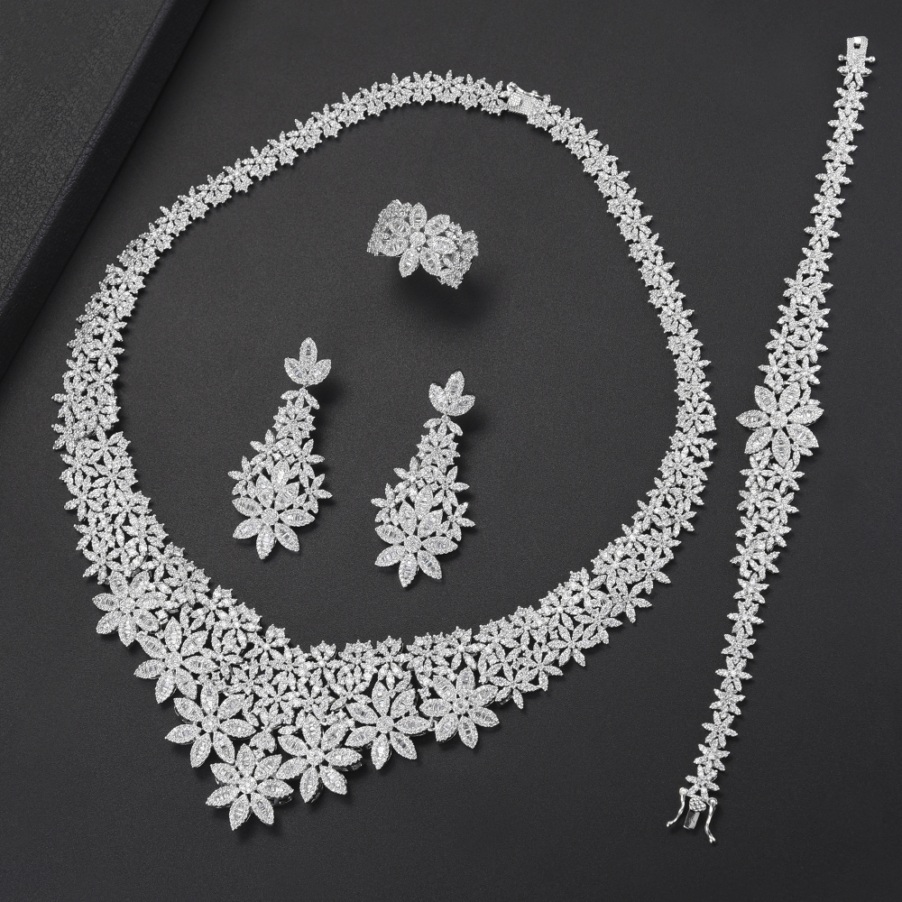 Trendy Bridal Wedding Jewelry Sets Flower Collar Necklace Earrings Bracelet Ring Jewelry Sets Cubic Zirconia Inlaid Jewelry 4pcs bridal fashion flower cubic zirconia inlaid wedding necklace dangle earrings bracelet ring jewelry set boucle d oreille