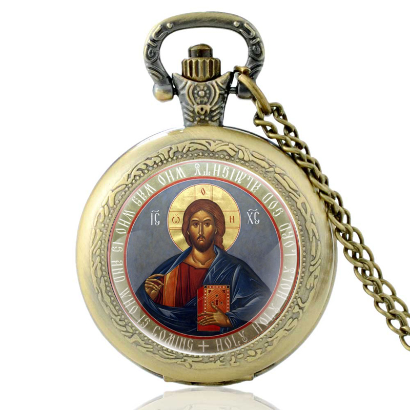 Vintage Bronze Orthodox Christianity Quartz Pocket Watch Classic Men Women  Pendant Necklace Gift