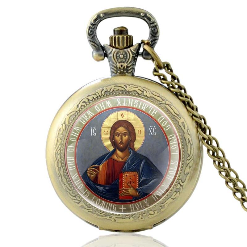 Vintage Bronze Orthodox Christianity Quartz Pocket Watch Classic Men Women  Pendant Necklace Gift