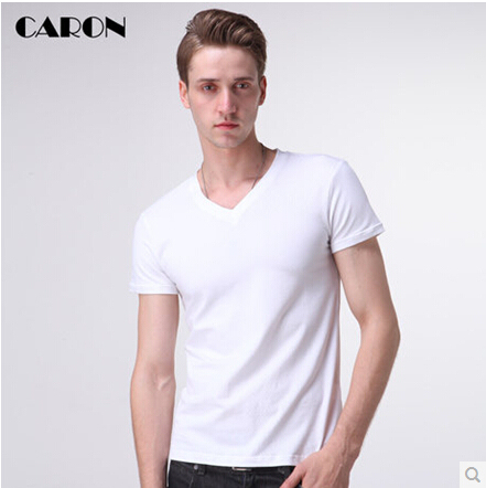 2019 Men's Short-sleeved T-shirt Tide Male Korean Solid Color Pure White Cotton V-neck Tight From The Wholesale Shipping 3