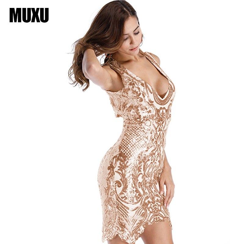 MUXU fashion gold sequin dress sexy women party dress ropa mujer elbise  roupa feminina clothes women glitter vestido sukienka 9d650f3a17da