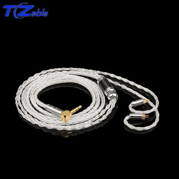 0.78 2pin Earphone Audio Cable For MMCX Cable Headphone Jack Hifi Wire 2.5mm 3.5mm Headphone Line 8 Core Wire Silver