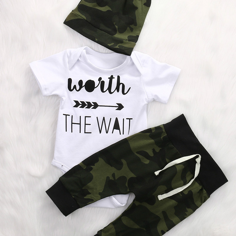 2018 New Baby Boys and Girls Baby Jumpsuit + Camouflage Pants + Hat Three Sets of Newborn Spring Cotton Leisure Suit