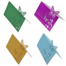 10 шт бабочка Лазерная резка Baby Shower День Рождения Вечеринка стол Имя Место открытки-приглашения на свадьбу стол имя карты Вечерние