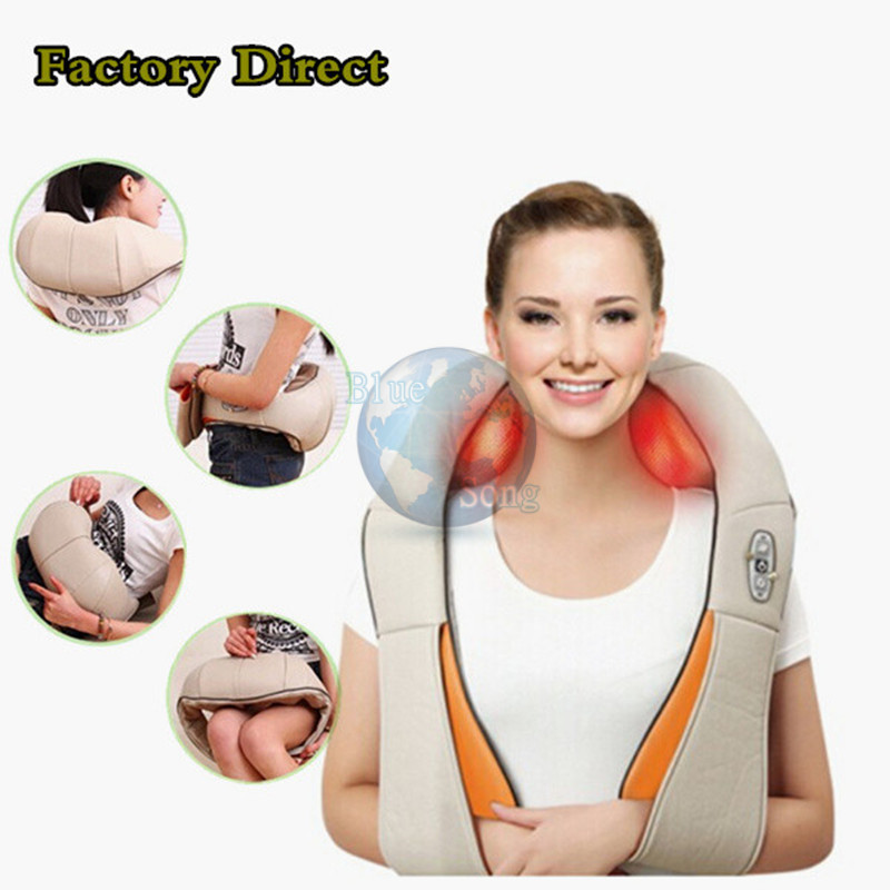U Shape Electrical Shiatsu Back Neck Shoulder Massager Body Infrared 3D Kneading Massager EU Plug Flat Plug Car Home Dual Use