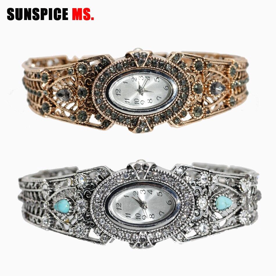 SUNSPICE-MS Vintage Bangle Watches Antique Gold Color Women Bracelet Dress Quartz Watch  Digital Wristwatch Relogio Feminino