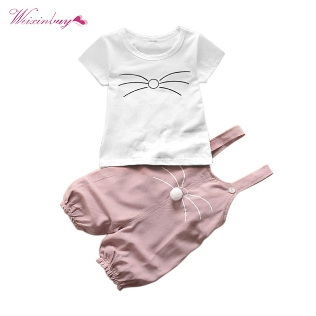 28af84260db5 2 Pcs Baby Girls Summer Clothes Set Cute Cotton Overall Pants + Short  Sleeve T-Shirt Cute Carton Cat Cotton Clothing Set