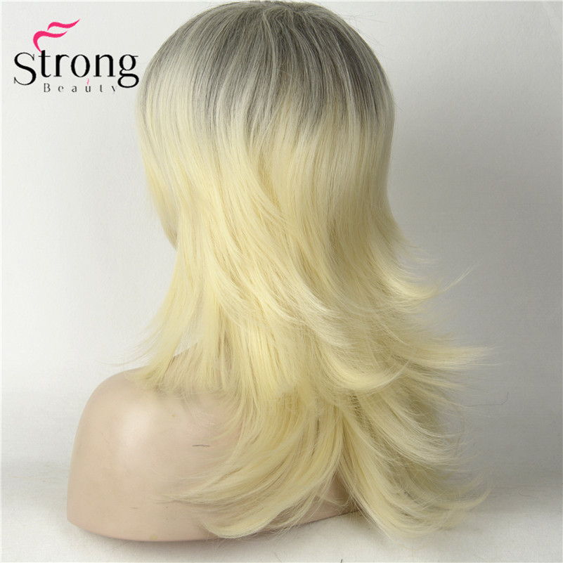 Long Straight Blonde With Dark Roots Ombre Choppy Layers Flip Out Full Synthetic Wig