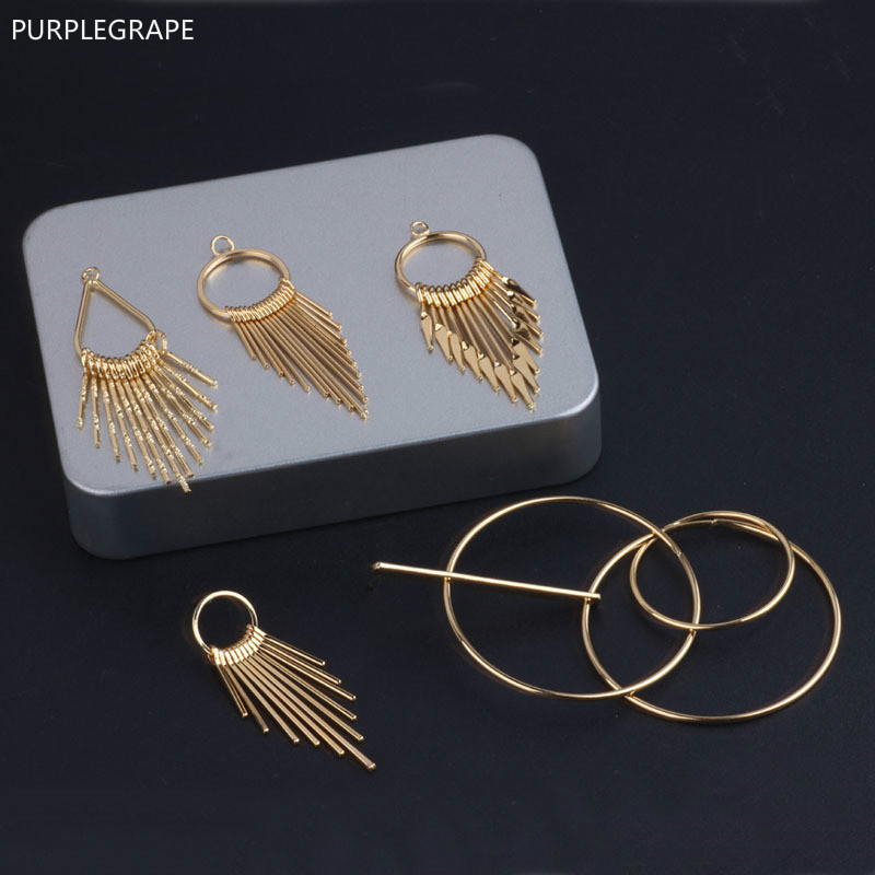 DIY Jewelry Accessories 18k Gold Plating Electrochromic Color Fringed Temperament Exaggerated Geometric Earrings Pendant 4pieces