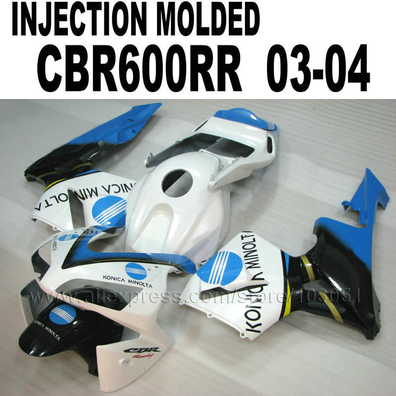 Motorcycle Injection fairings kit for Honda 2003 CBR 600 RR 2004 CBR600RR 03 04 cbr600  white blue body repair fairing part hot sales for honda cbr600rr 2003 2004 cbr 600rr 03 04 f5 cbr 600 rr blue black motorcycle cowl fairing kit injection molding