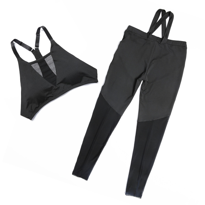 Women's Solid Tracksuit Sexy Black Mesh Yoga Bra + Sport Legging Tights Running Gym Fitness Solid Yoga Suit Women Sports Suit