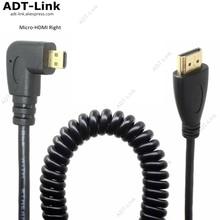 Cable Flexible HDMI A ángulo recto Micro HDMI, Cable Flexible de resorte V1.4 DSLR 0,5 M/2,0 M HDMI tipo A tipo D Cabo para HDTV XBox Tablet