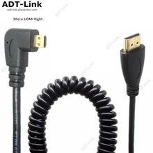 HDMI Sang Phải Góc Micro HDMI Mùa Xuân Cong Cáp Linh Hoạt V1.4 DSLR 0.5M/2.0M HDMI A loại Để Loại D Cabo Cho HDTV Xbox Máy Tính Bảng